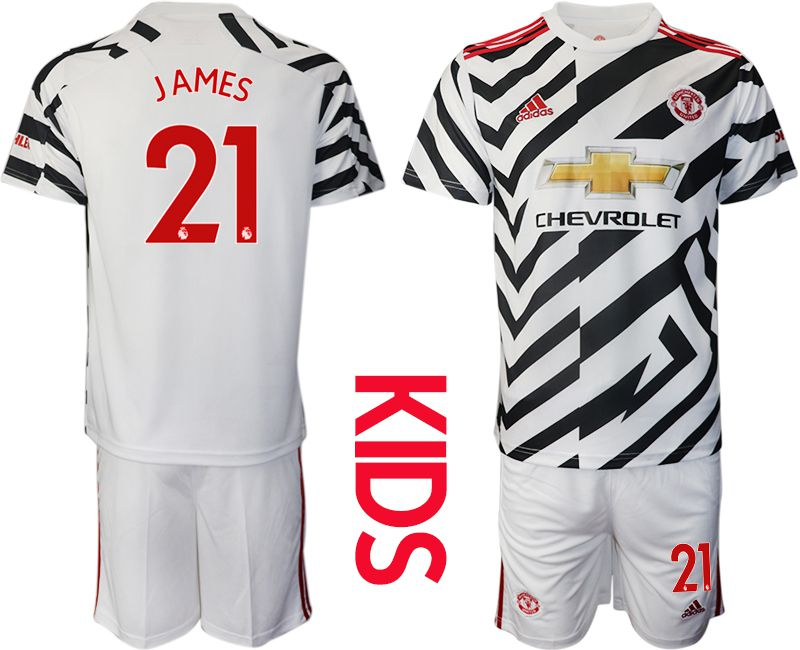 Cheap Youth 2020-2021 club Manchester united away 21 white Soccer Jerseys