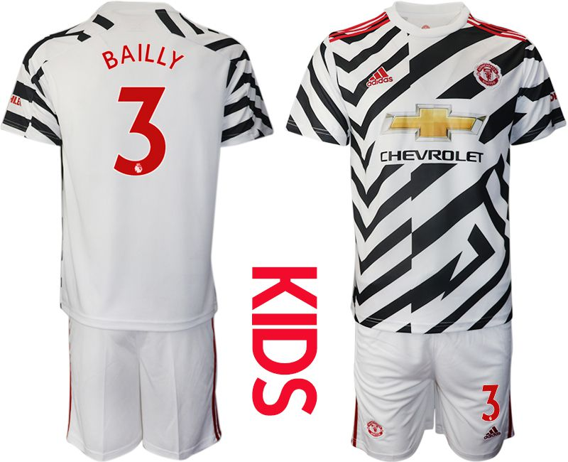Cheap Youth 2020-2021 club Manchester united away 3 white Soccer Jerseys