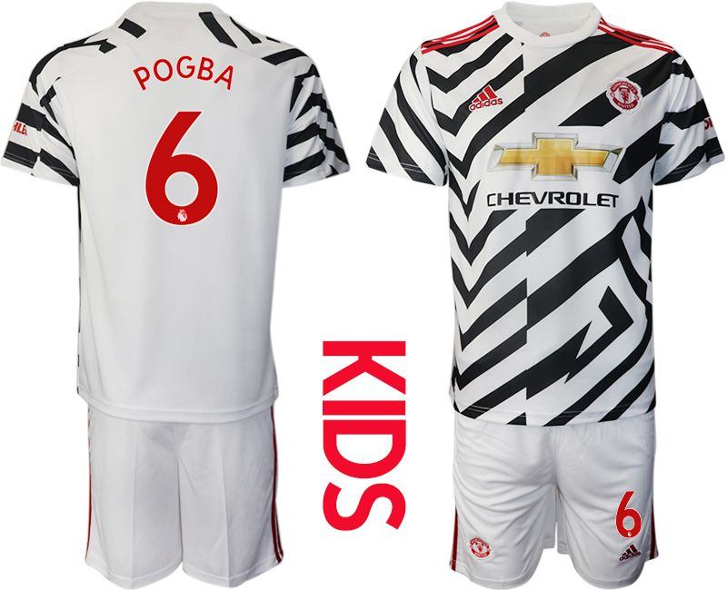 Cheap Youth 2020-2021 club Manchester united away 6 white Soccer Jerseys