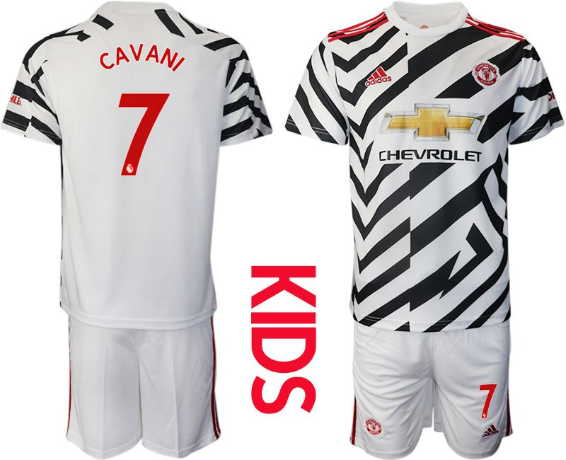 Cheap Youth 2020-2021 club Manchester united away 7 white Soccer Jerseys