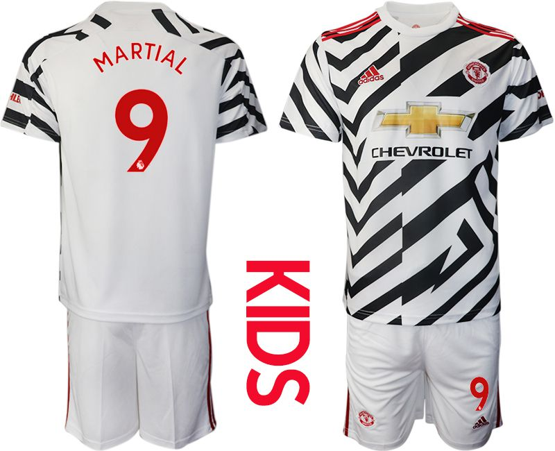 Cheap Youth 2020-2021 club Manchester united away 9 white Soccer Jerseys