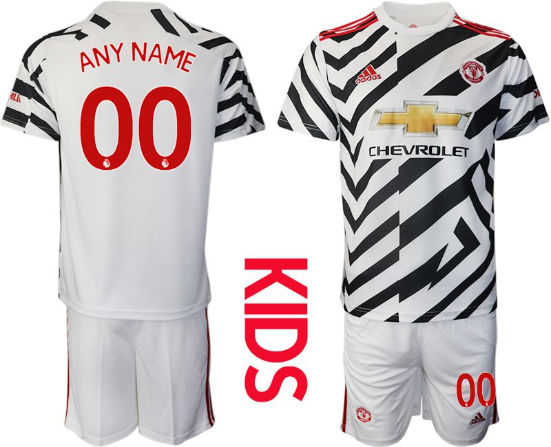 Cheap Youth 2020-2021 club Manchester united away customized white Soccer Jerseys