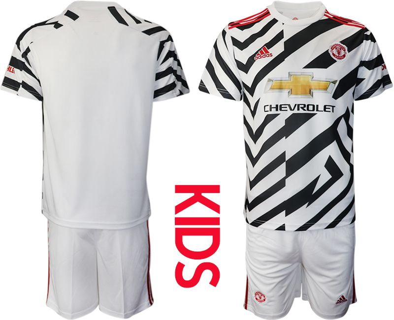 Cheap Youth 2020-2021 club Manchester united away white Soccer Jerseys