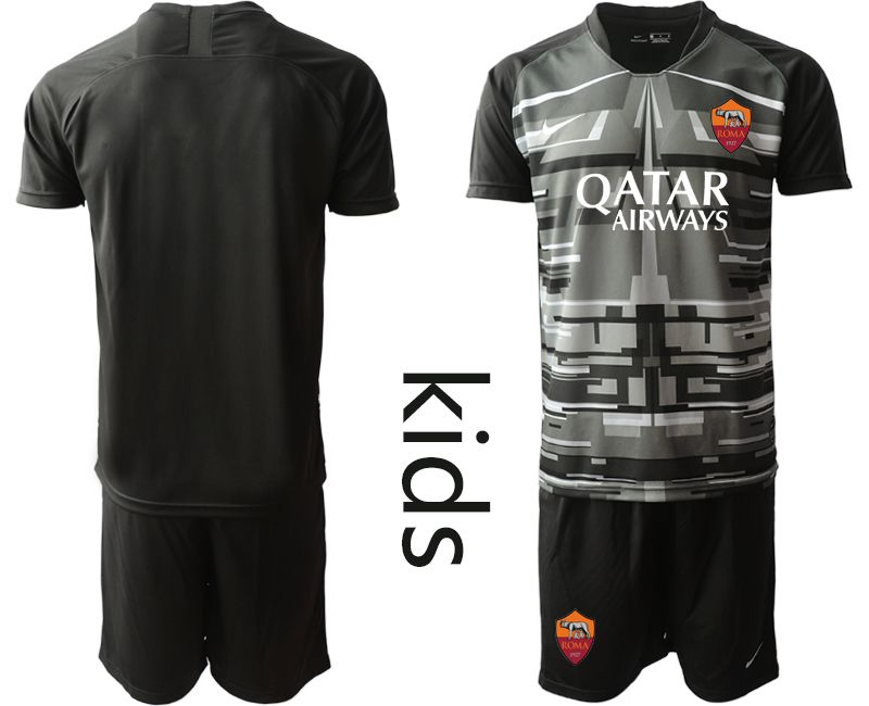 Cheap Youth 2020-2021 club Rome black goalkeeper Soccer Jerseys