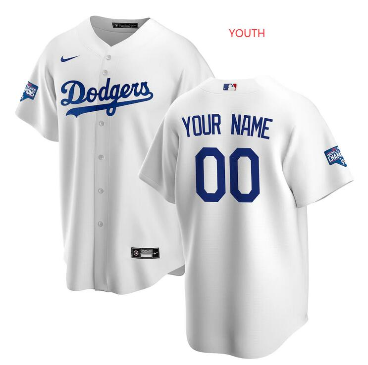 Wholesale Youth Los Angeles Dodgers Nike White 2020 World Series Champions Home Custom Replica MLB Jersey