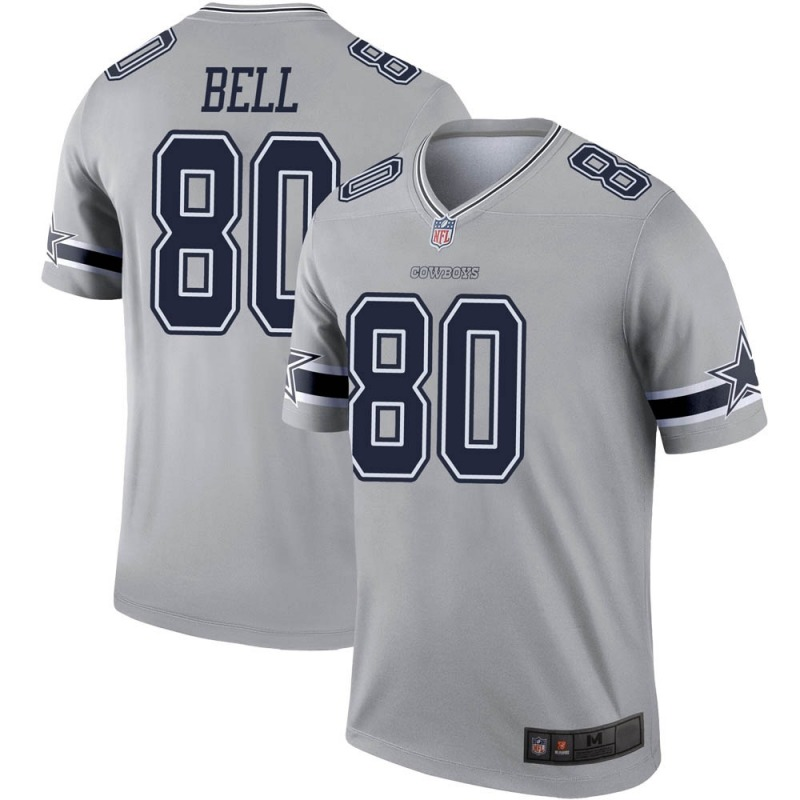 Wholesale 2020 Nike NFL Youth Dallas Cowboys 80 Blake Bell Gray Legend Inverted Jersey