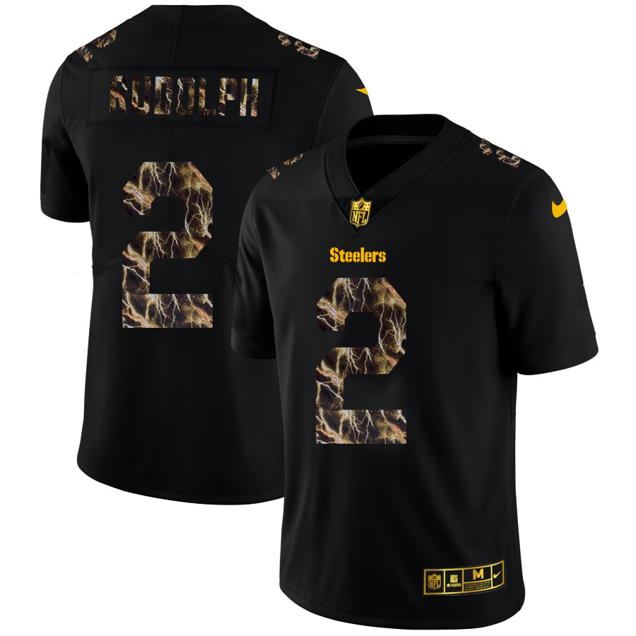 Wholesale 2020 Pittsburgh Steelers 2 Mason Rudolph Men Black Nike Flocked Lightning Vapor Limited NFL Jersey
