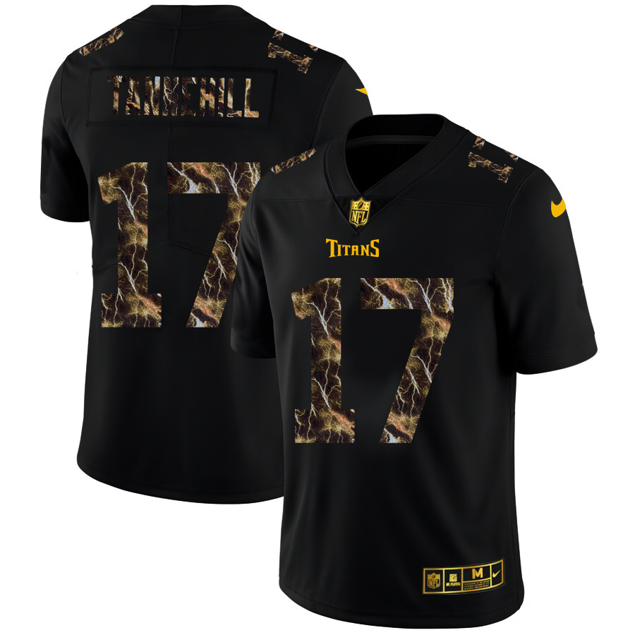 2020 Tennessee Titans 17 Ryan Tannehill Men Black Nike Flocked Lightning Vapor Limited NFL Jersey