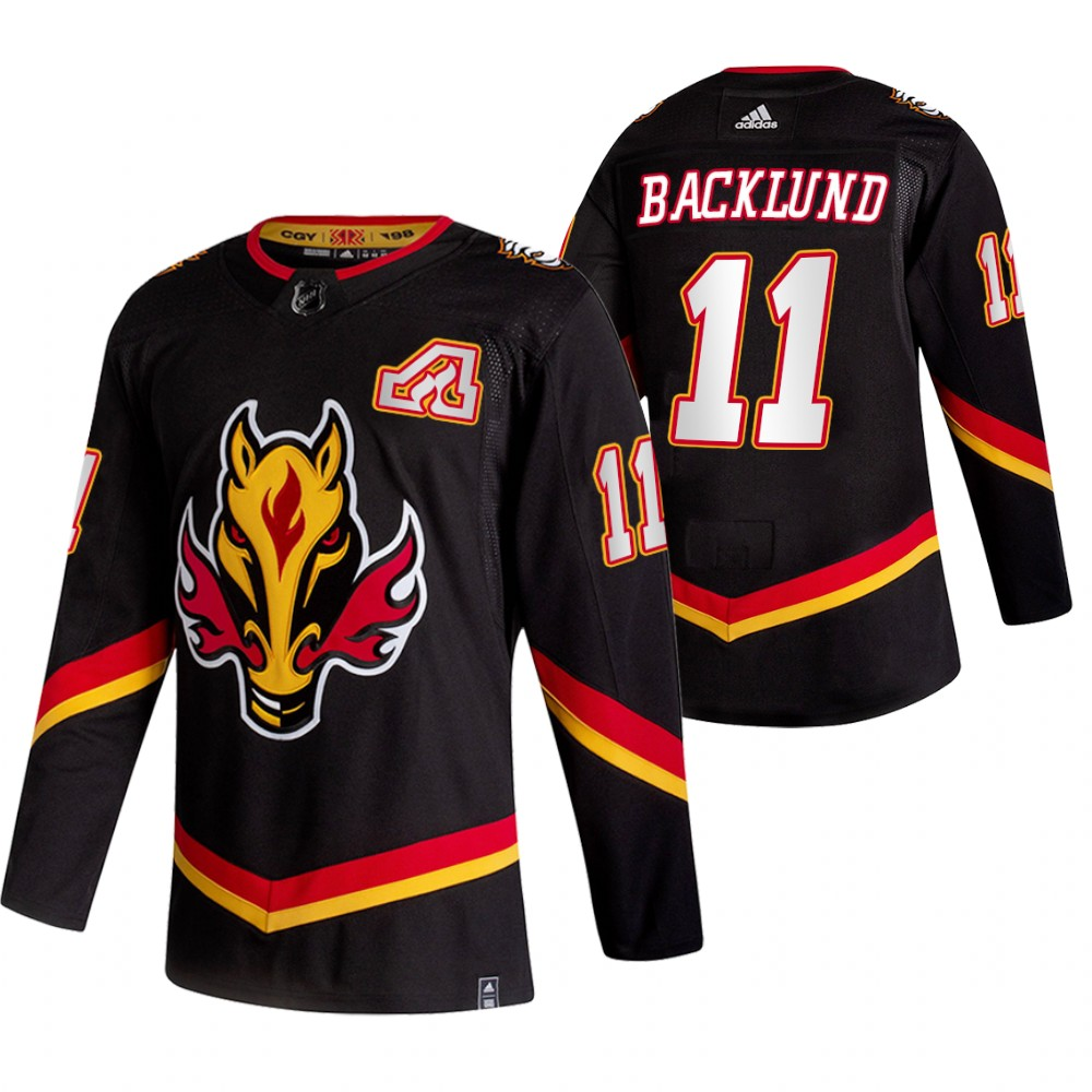 Wholesale 2021 Adidias Calgary Flames 11 Mikael Backlund Black Men Reverse Retro Alternate NHL Jersey