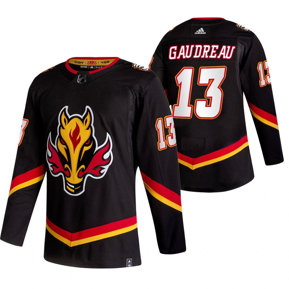 Wholesale 2021 Adidias Calgary Flames 13 Johnny Gaudreau Black Men Reverse Retro Alternate NHL Jersey