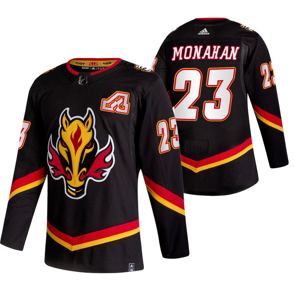 Wholesale 2021 Adidias Calgary Flames 23 Sean Monahan Black Men Reverse Retro Alternate NHL Jersey