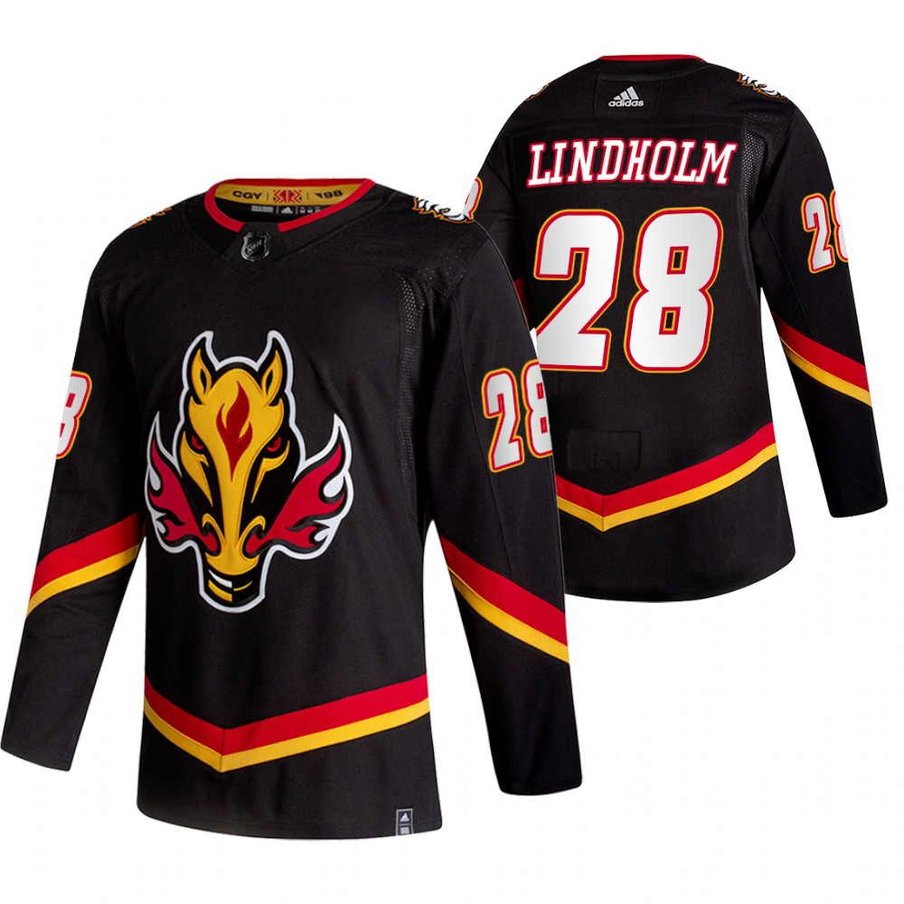 Wholesale 2021 Adidias Calgary Flames 28 Elias Lindholm Black Men Reverse Retro Alternate NHL Jersey
