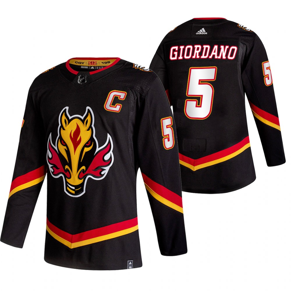 Wholesale 2021 Adidias Calgary Flames 5 Mark Giordano Black Men Reverse Retro Alternate NHL Jersey