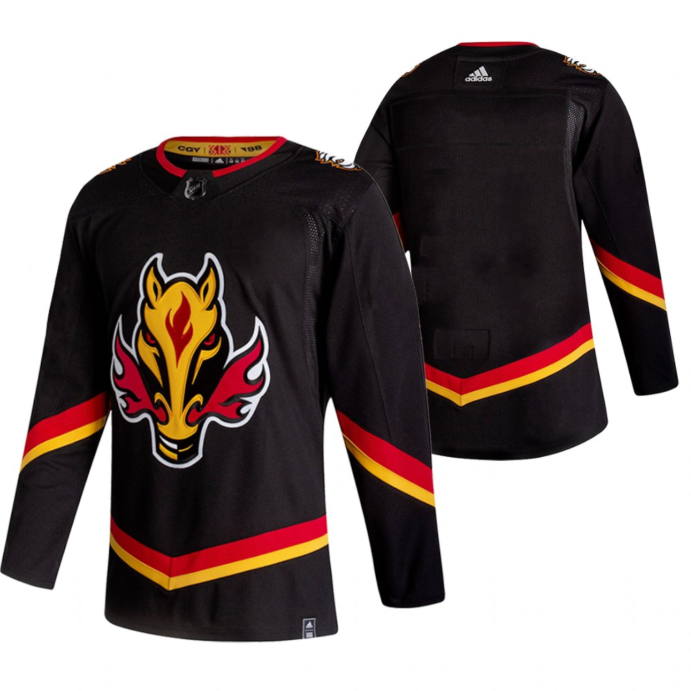 Wholesale 2021 Adidias Calgary Flames Blank Black Men Reverse Retro Alternate NHL Jersey