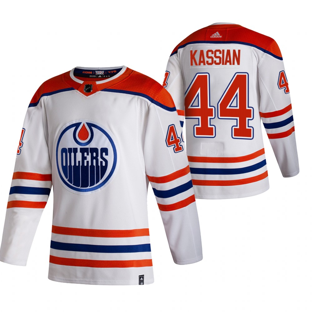 Cheap 2021 Adidias Edmonton Oilers 44 Zack Kassian White Men Reverse Retro Alternate NHL Jersey