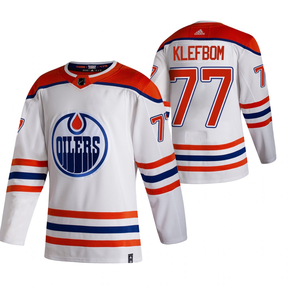 Cheap 2021 Adidias Edmonton Oilers 77 Oscar Klefblom White Men Reverse Retro Alternate NHL Jersey