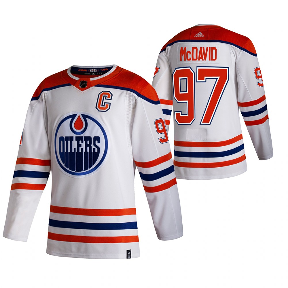 Cheap 2021 Adidias Edmonton Oilers 97 Connor McDavid White Men Reverse Retro Alternate NHL Jersey