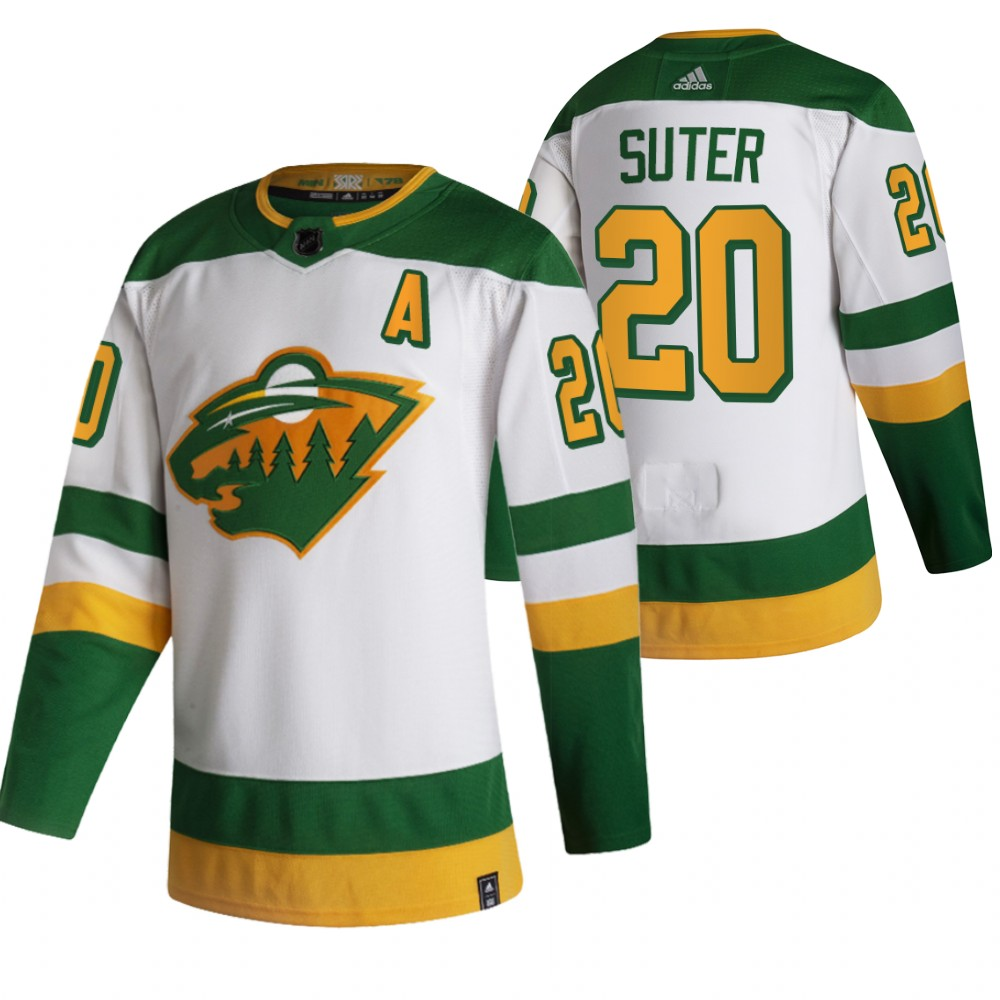 Wholesale 2021 Adidias Minnesota Wild 20 Ryan Suter White Men Reverse Retro Alternate NHL Jersey