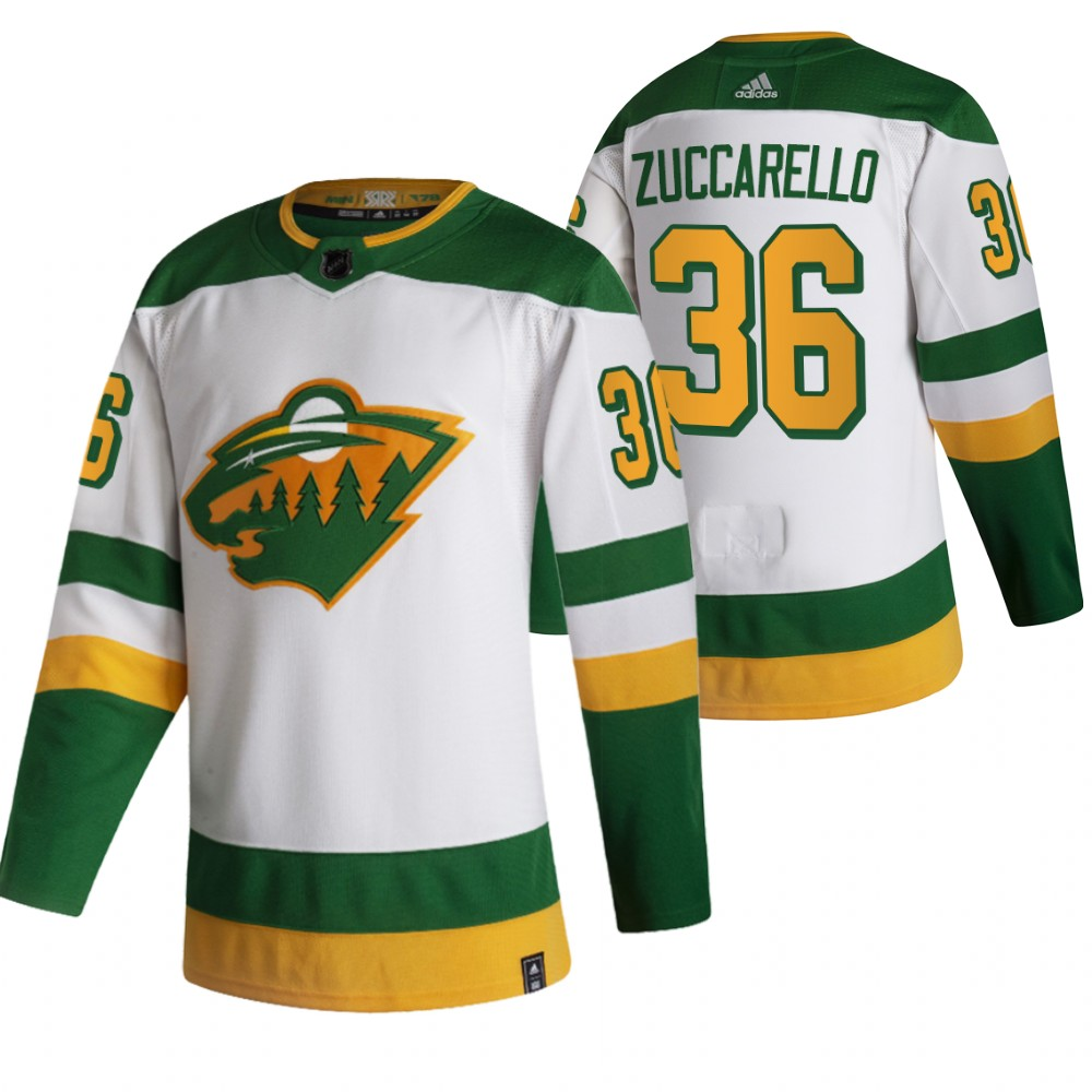 Wholesale 2021 Adidias Minnesota Wild 36 Mats Zuccarello White Men Reverse Retro Alternate NHL Jersey