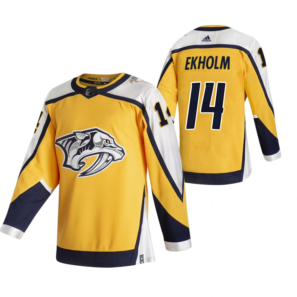 Cheap 2021 Adidias Nashville Predators 14 Mattias Ekholm Yellow Men Reverse Retro Alternate NHL Jersey