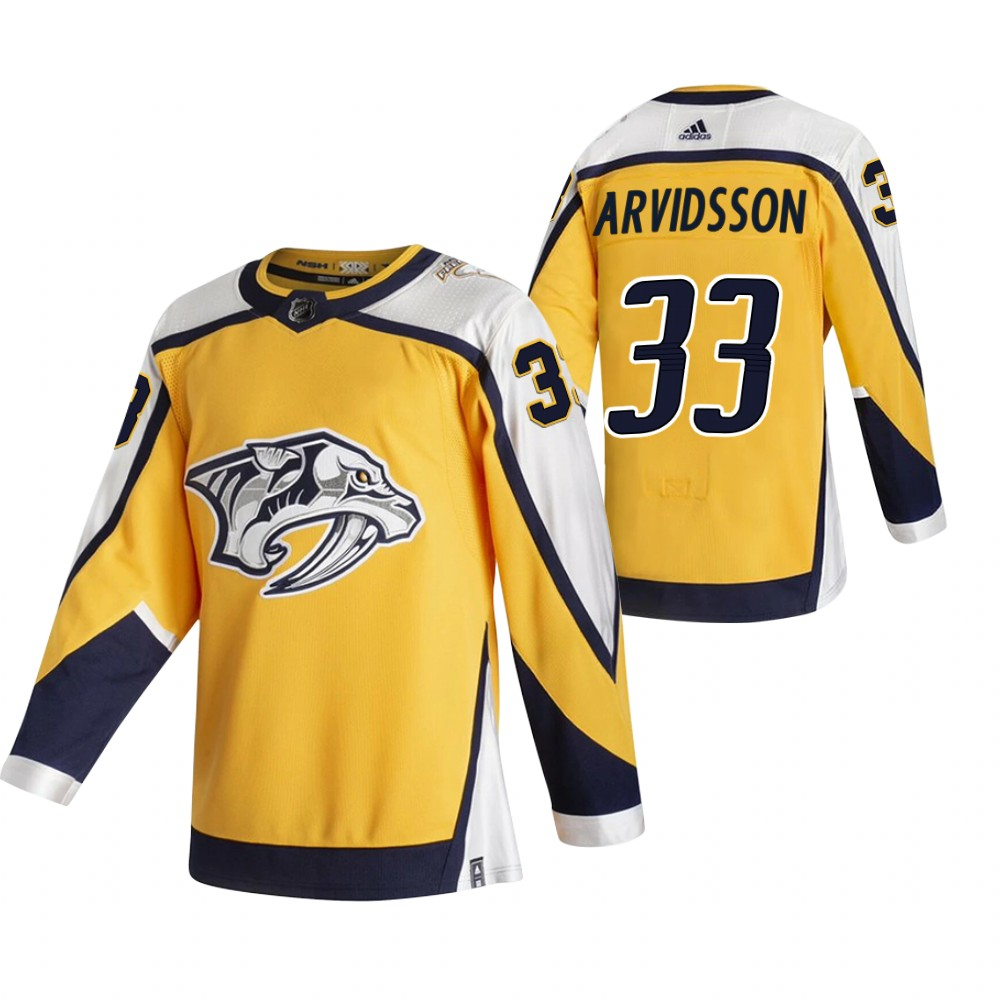 Cheap 2021 Adidias Nashville Predators 33 Viktor Arvidsson Yellow Men Reverse Retro Alternate NHL Jersey