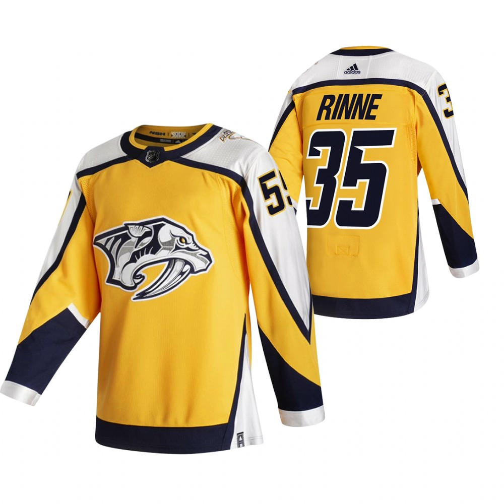 Cheap 2021 Adidias Nashville Predators 35 Pekka Rinne Yellow Men Reverse Retro Alternate NHL Jersey