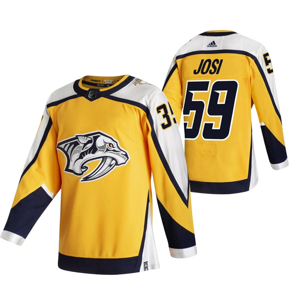 Cheap 2021 Adidias Nashville Predators 59 Roman Josi Yellow Men Reverse Retro Alternate NHL Jersey