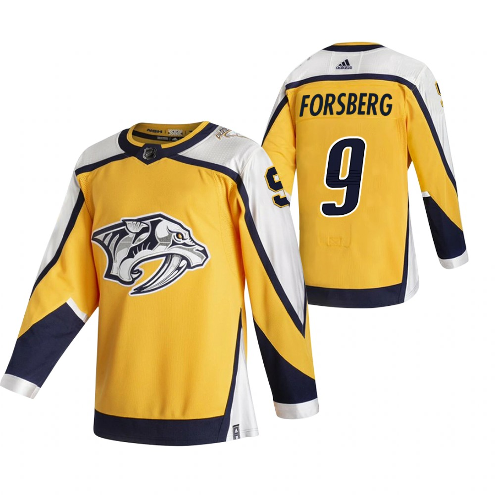 Cheap 2021 Adidias Nashville Predators 9 Filip Forsberg Yellow Men Reverse Retro Alternate NHL Jersey