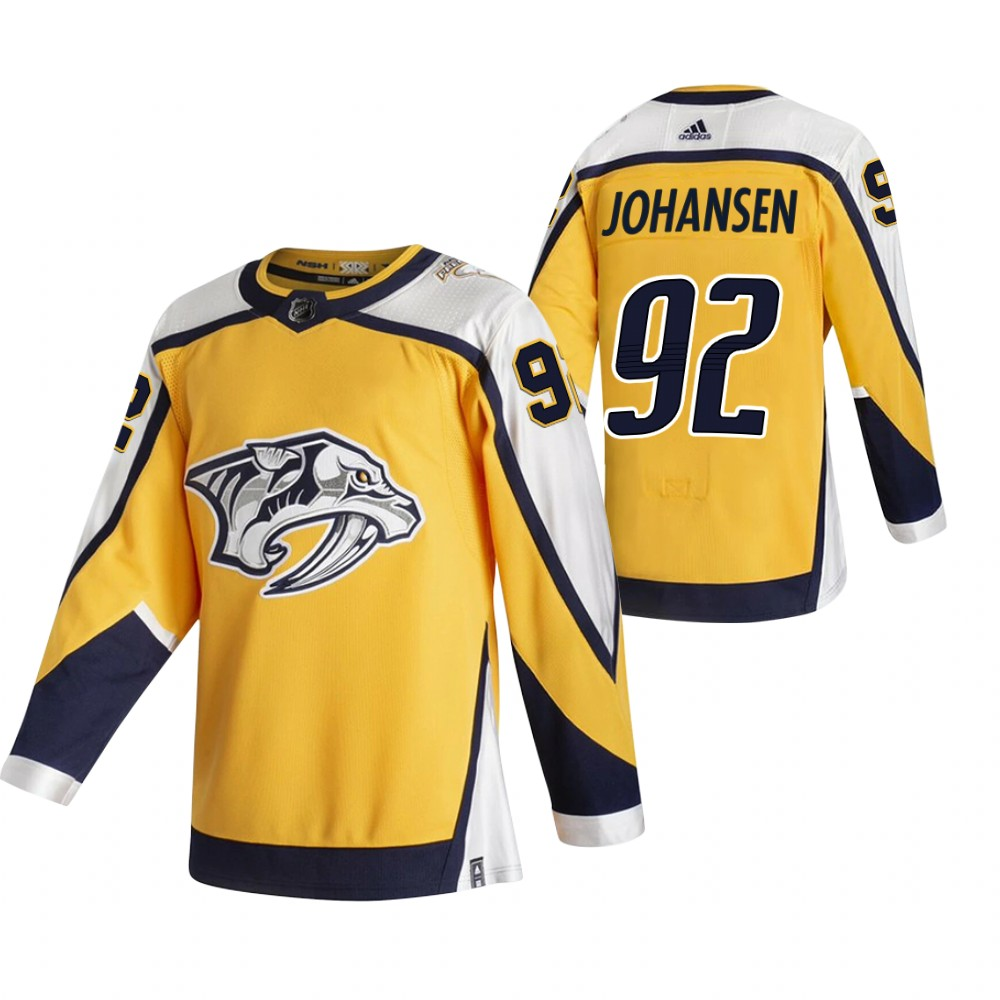 Cheap 2021 Adidias Nashville Predators 92 Ryan Johansen Yellow Men Reverse Retro Alternate NHL Jersey