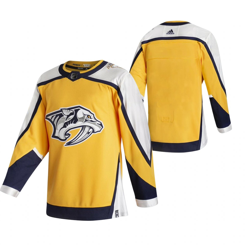 Cheap 2021 Adidias Nashville Predators Blank Yellow Men Reverse Retro Alternate NHL Jersey