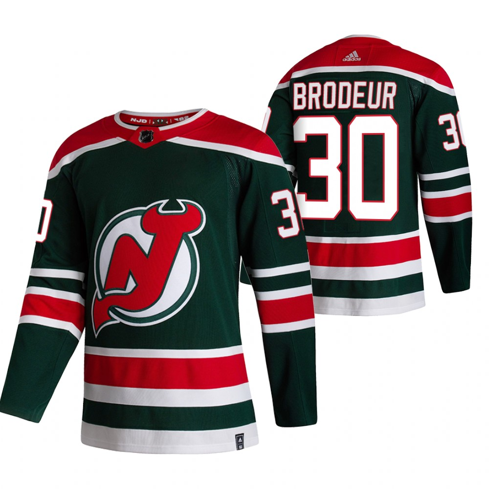 Cheap 2021 Adidias New Jersey Devils 30 Martin Brodeur Green Men Reverse Retro Alternate NHL Jersey