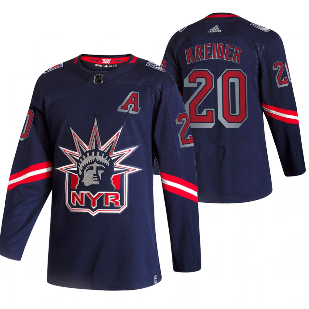 Cheap 2021 Adidias New York Rangers 20 Chris Kreider Navy Men Reverse Retro Alternate NHL Jersey