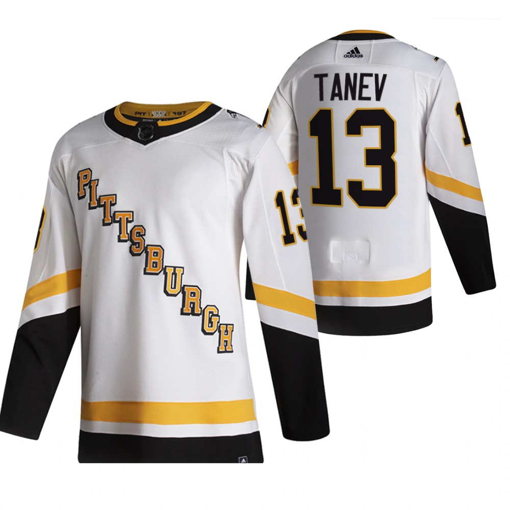 Cheap 2021 Adidias Pittsburgh Penguins 13 Brandon Tanev White Men Reverse Retro Alternate NHL Jersey
