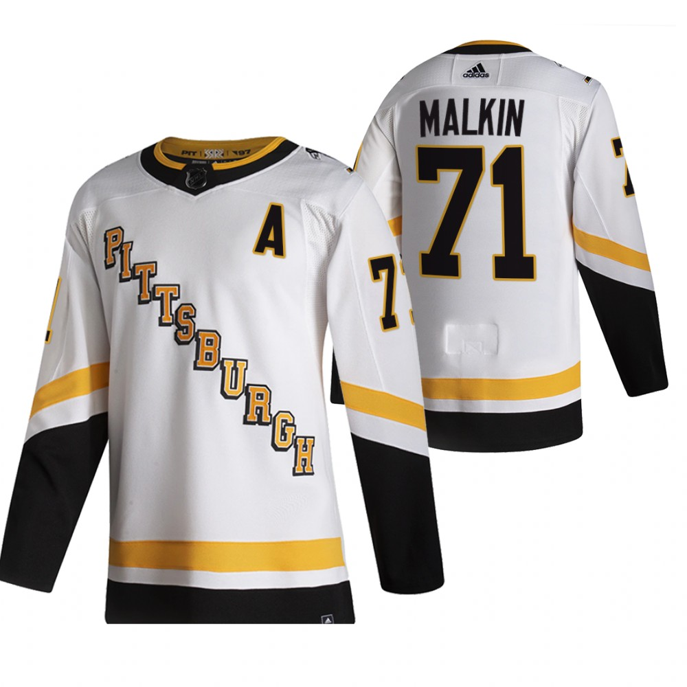 Cheap 2021 Adidias Pittsburgh Penguins 71 Evgeni Malkin White Men Reverse Retro Alternate NHL Jersey