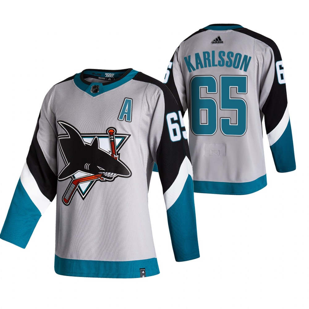 Cheap 2021 Adidias San Jose Sharks 65 Erik Karlsson Grey Men Reverse Retro Alternate NHL Jersey