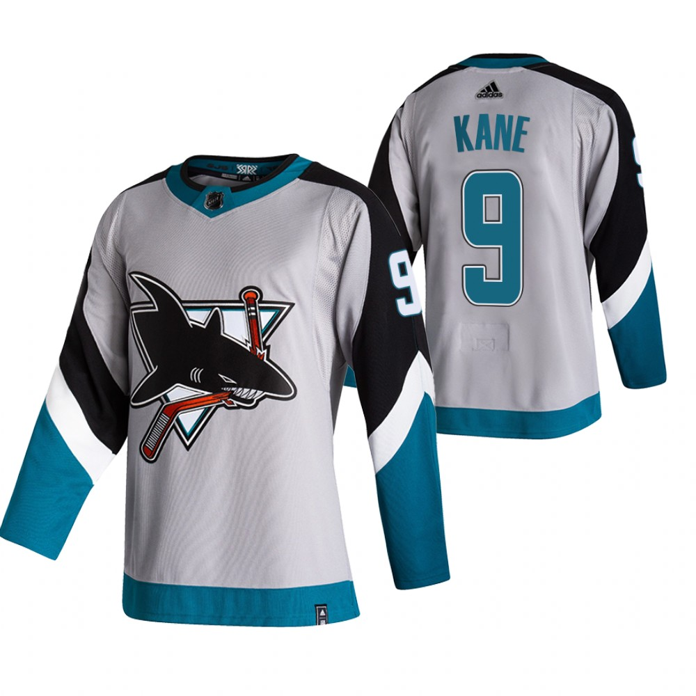 Cheap 2021 Adidias San Jose Sharks 9 Evander Kane Grey Men Reverse Retro Alternate NHL Jersey