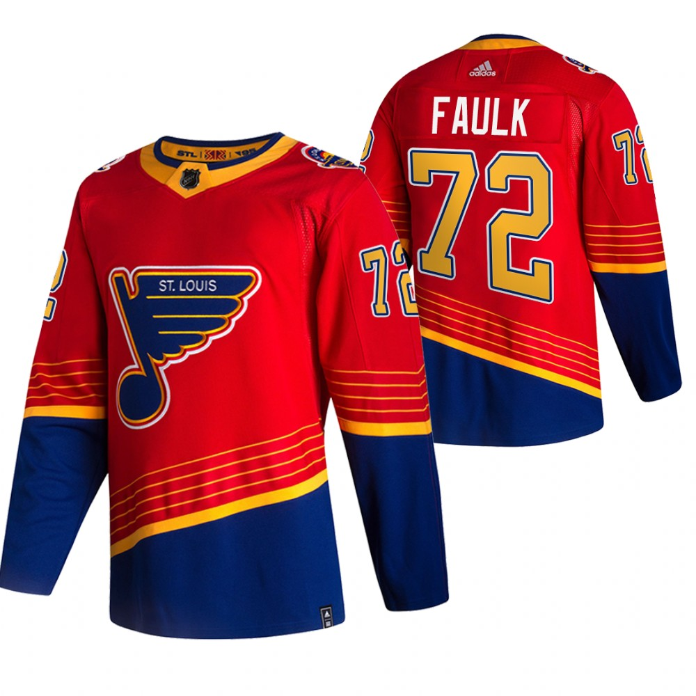 Cheap 2021 Adidias St. Louis Blues 72 Justin Faulk Red Men Reverse Retro Alternate NHL Jersey