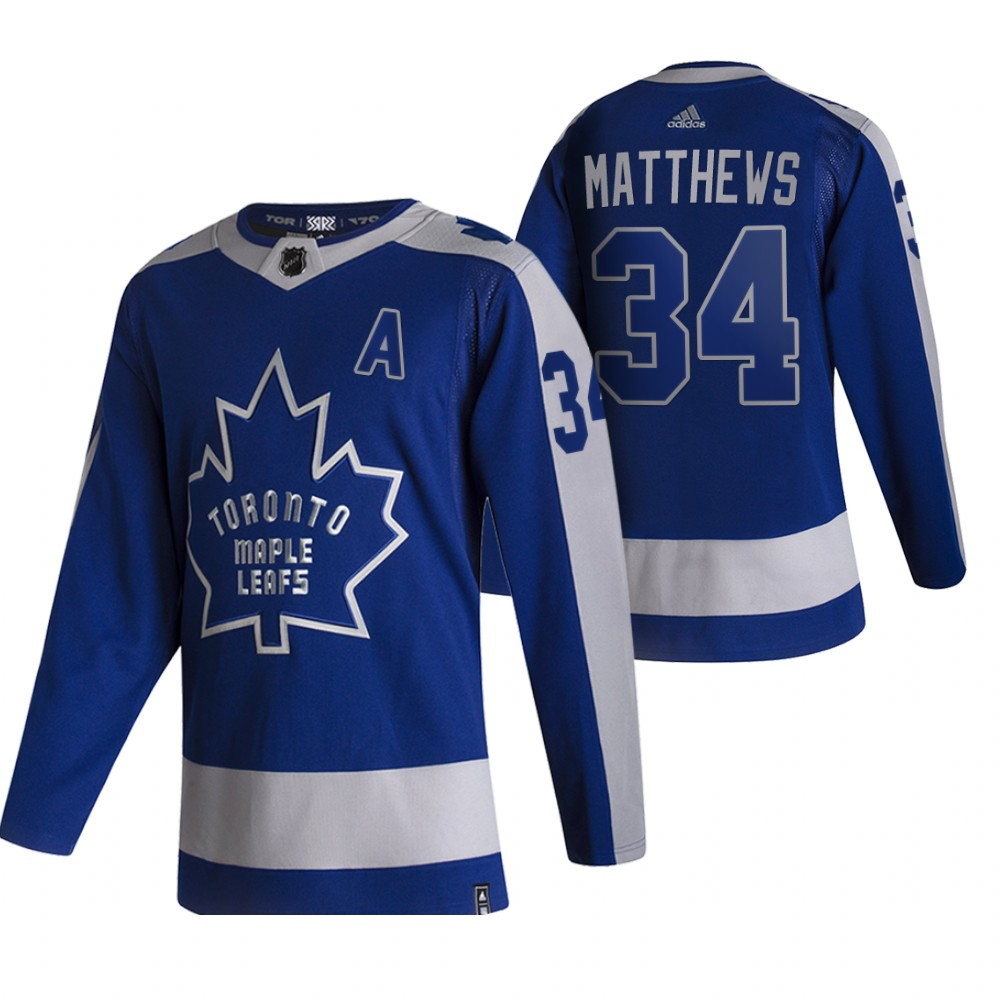 Cheap 2021 Adidias Toronto Maple Leafs 34 Auston Matthews Blue Men Reverse Retro Alternate NHL Jersey