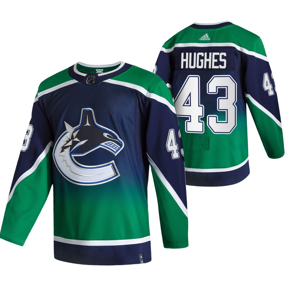 Cheap 2021 Adidias Vancouver Canucks 43 Quinn Hughes Green Men Reverse Retro Alternate NHL Jersey