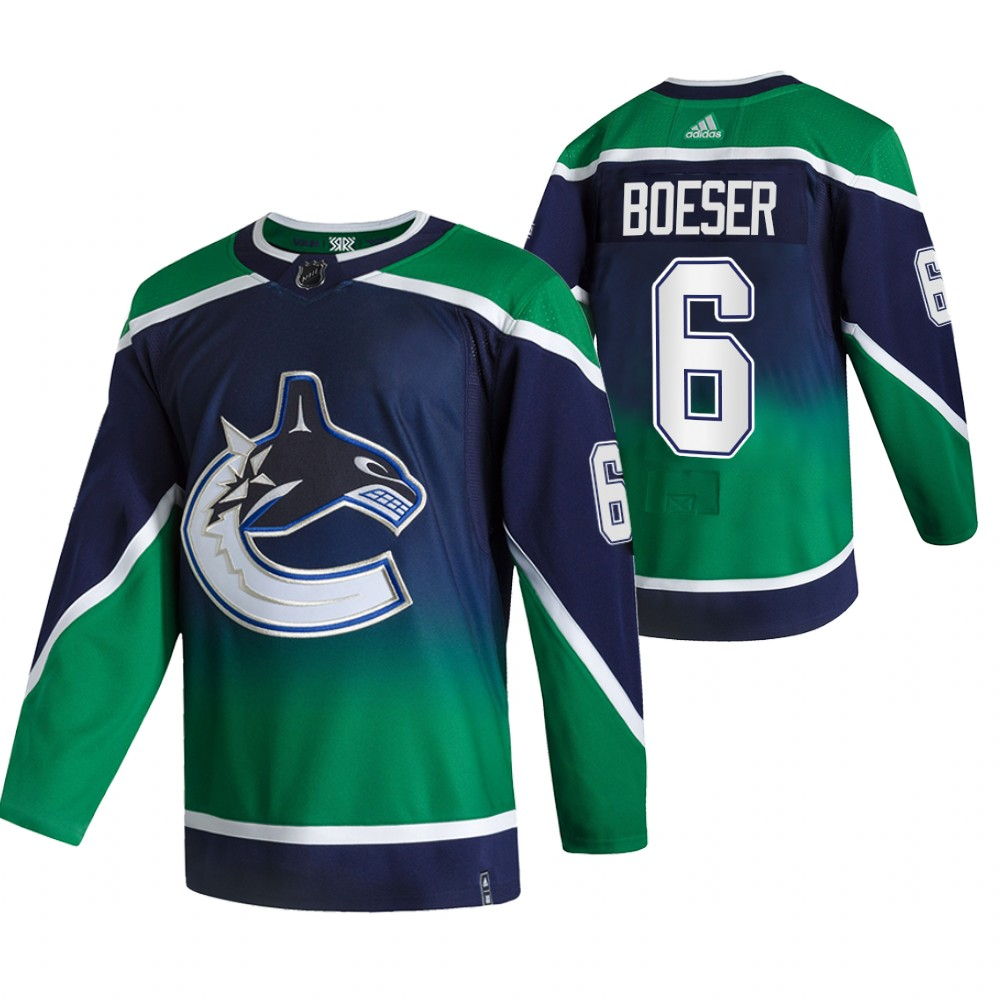 Cheap 2021 Adidias Vancouver Canucks 6 Brock Boeser Green Men Reverse Retro Alternate NHL Jersey