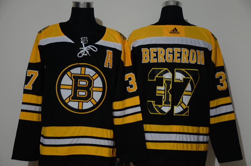 Wholesale Adidas Men Boston Bruins 37 Bergeron Authentic Stitched black print NHL Jersey