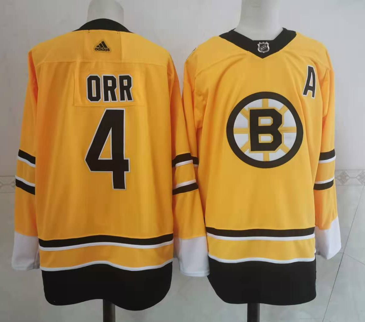 Wholesale Adidas Men Boston Bruins 4 Orr Authentic Stitched yellow NHL Jersey