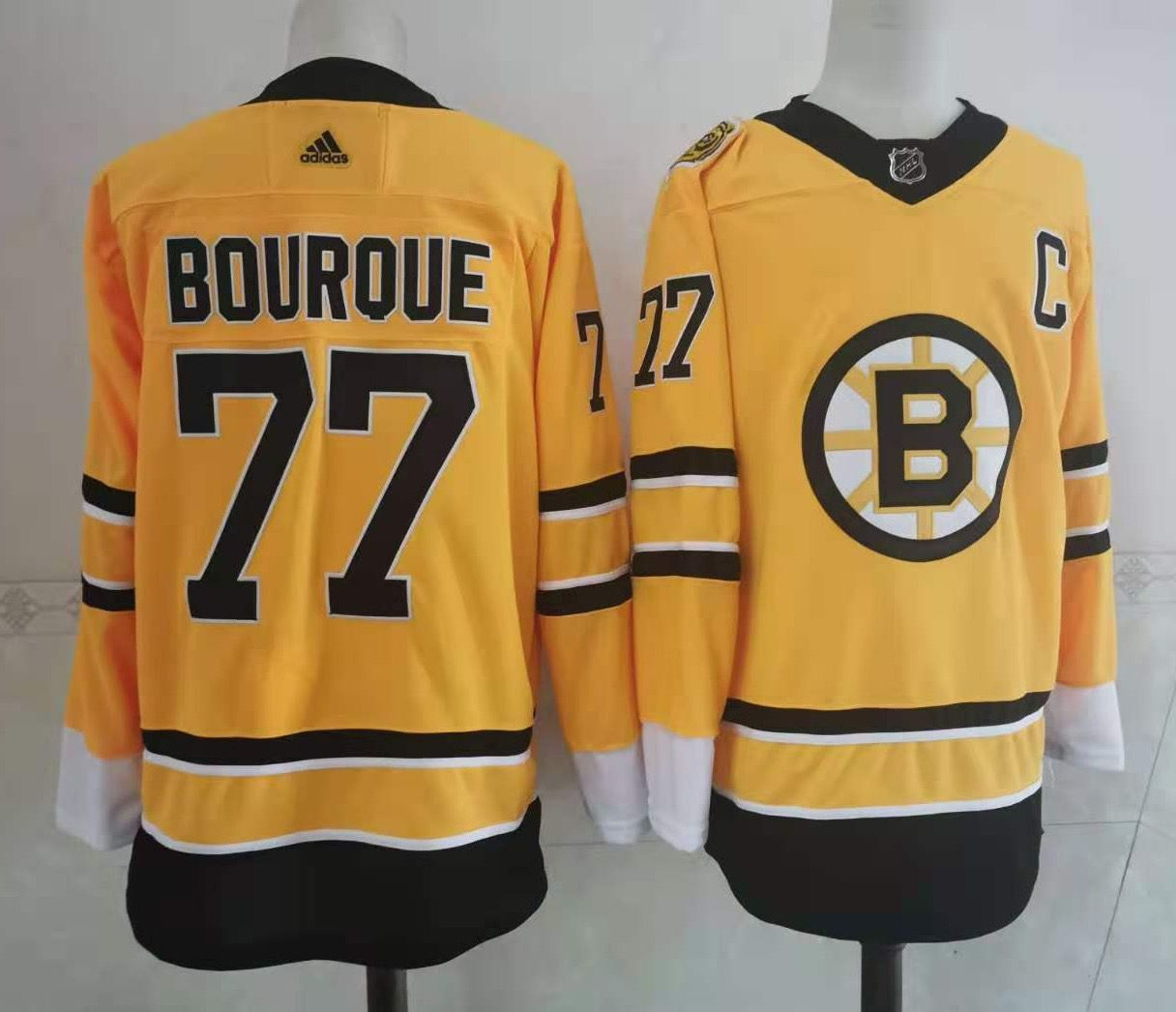 Wholesale Adidas Men Boston Bruins 77 Bourque Authentic Stitched yellow NHL Jersey