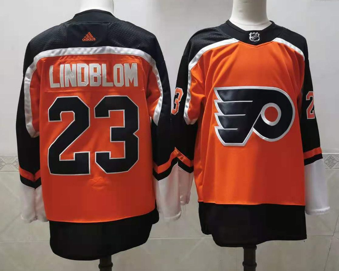 Wholesale Adidas Men Philadelphia Flyers 23 Lindblom Orange Home Authentic Stitched NHL Jersey
