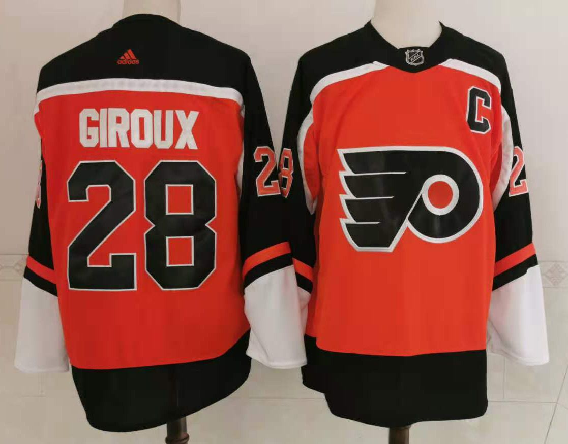Wholesale Adidas Men Philadelphia Flyers 28 Giroux Orange Home Authentic Stitched NHL Jersey