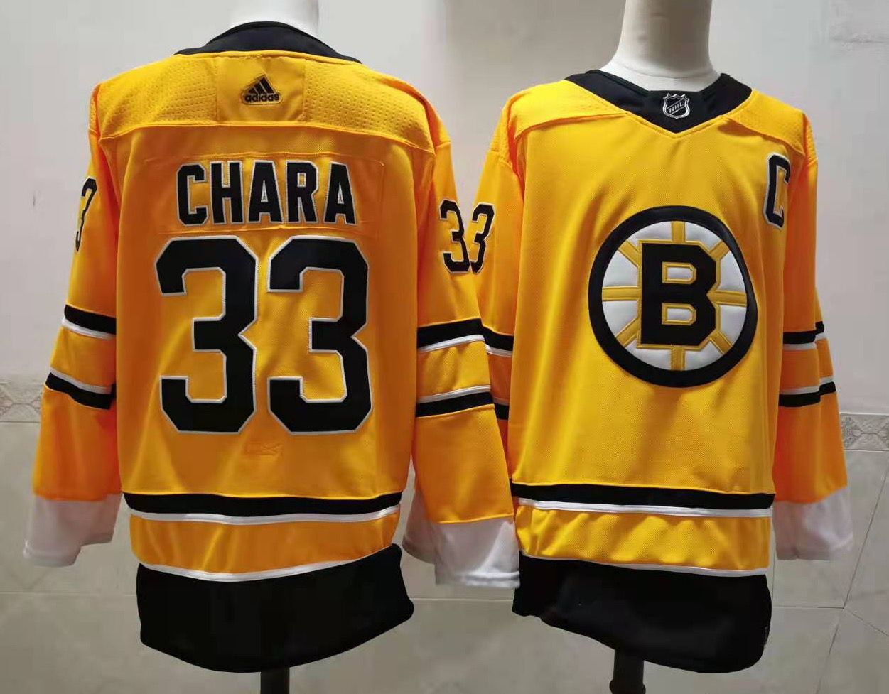 Cheap Men Boston Bruins 33 Chara Yellow Authentic Stitched 2020 Adidias NHL Jersey