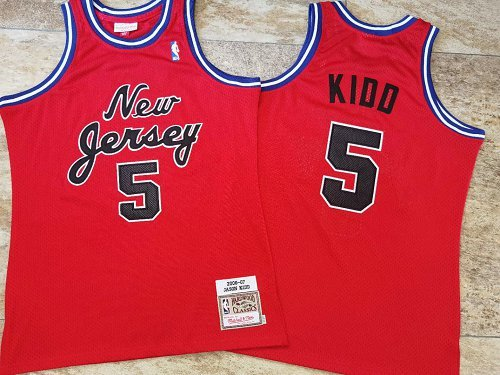 Cheap Men Brooklyn Nets 5 Kidd red Home NBA Jersey Print
