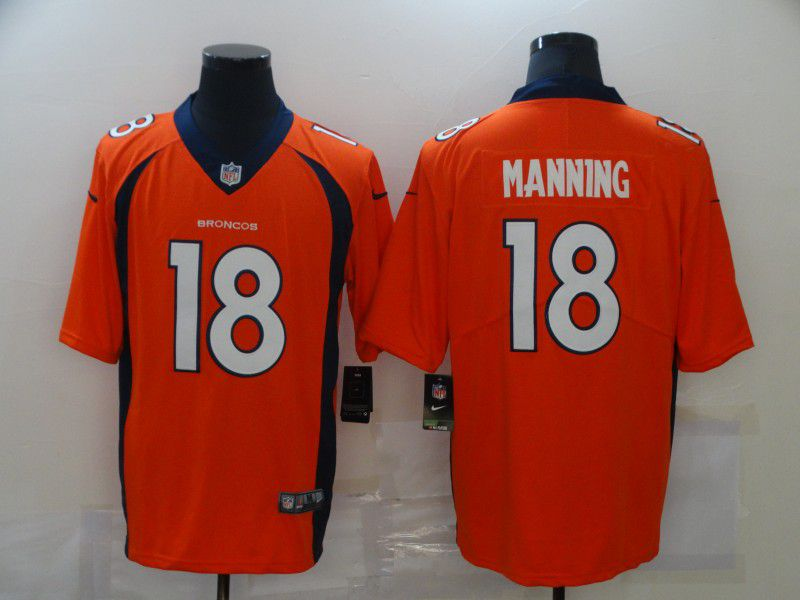 Wholesale Men Denver Broncos 18 Manning Orange Nike Limited Vapor Untouchable NFL Jerseys