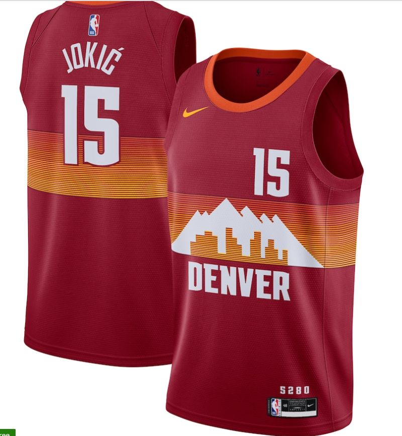 Wholesale Men Denver Nuggets 15 Jokic red city Edition Nike NBA Jerseys