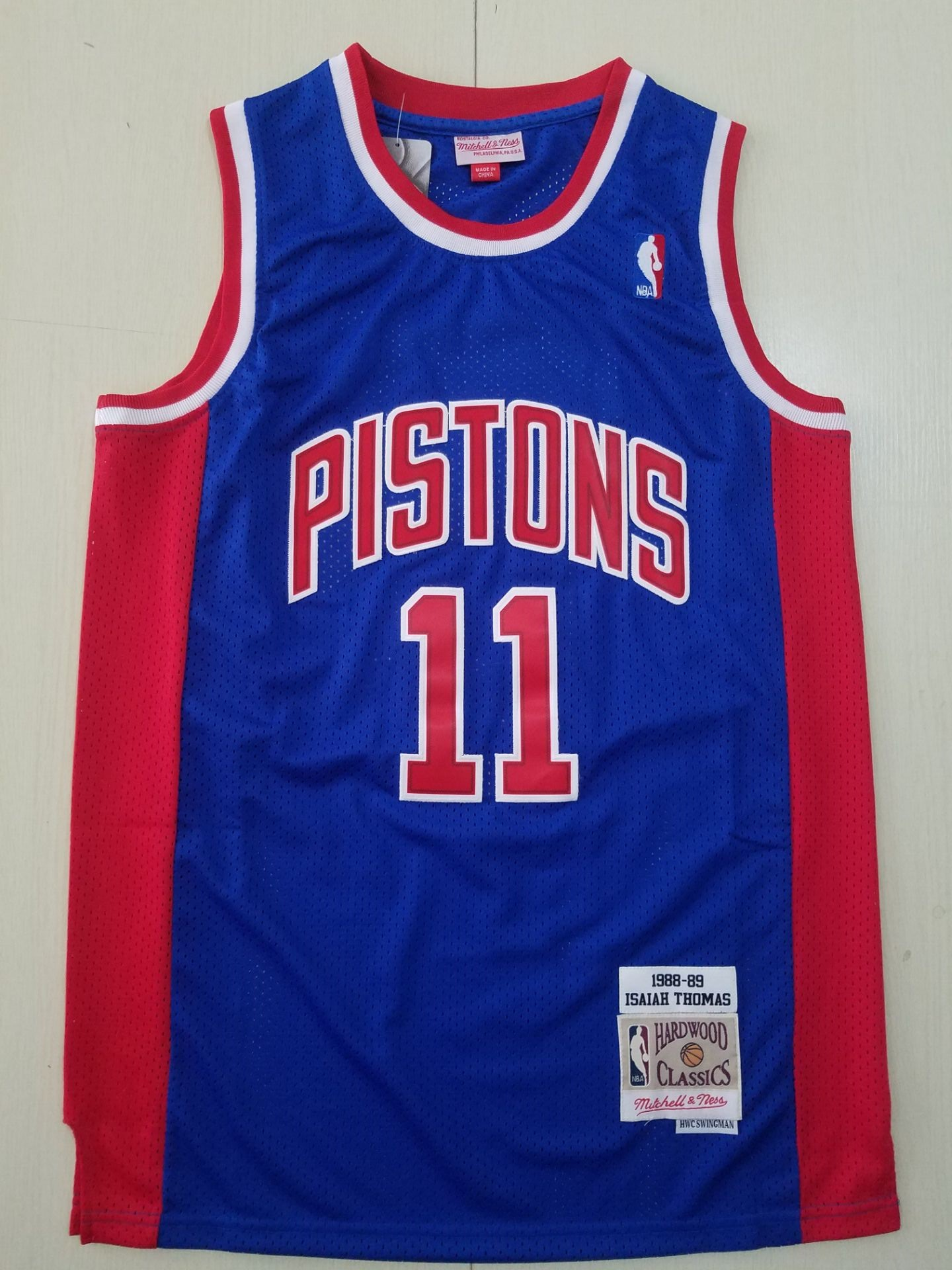 Wholesale Men Detroit Pistons 11 Thomas Blue Throwback Stitched NBA Jersey 2